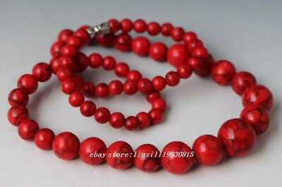 China Collectibles Handwork Old Coral  Toyed  Bead Necklace