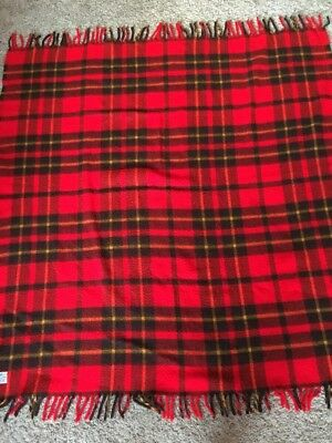 Vintage Faribo Red Plaid Stadium Blanket Throw
