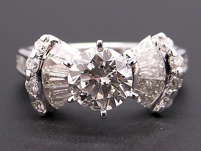 82279440205dd 3 CT ROUND Baguette Diamond Engagement Cocktail Ring Wide Band White ...