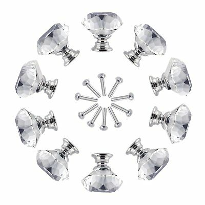 1 x CRYSTAL GLASS 30mm FURNITURE KNOB WITH BOLT PULL CABINET WARDROBE H175
