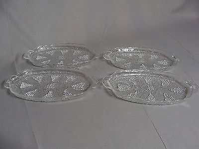 4 Anchor Hocking Clear Glass Snack Plates In The Grape Pattern