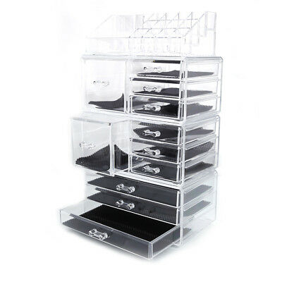 Large Acrylic Cosmetic Tower Organizer Makeup Holder Case Jewelry Storage Drawer