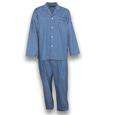 Mens Pyjamas Contare Cotton Pjs Set Navy Blue Check (NCH) Sz S-XXL