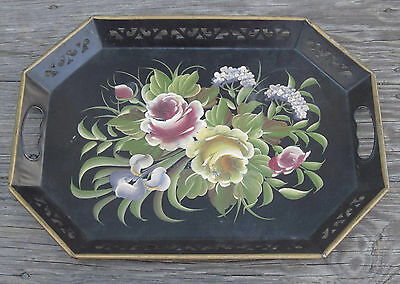 HEAVY TOLE WARE Metal HANDLED SERVING TRAY HAND PAINTED ROSES VINTAGE Toleware