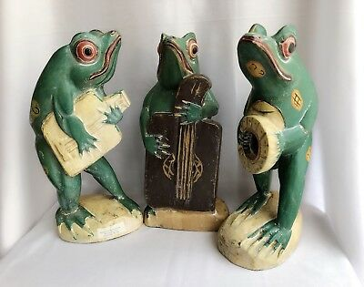 3 Frogs In A Band ~ Handmade Indonesia ~ Unique