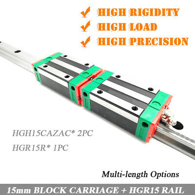 L100~1500mm HIWIN 15mm Linear Rail Guide HGR15 & 2pc HGH15CAZAC Block Carriage