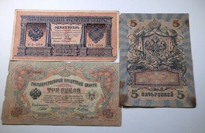 Russian Rubles Banknotes Set (including 1,3,5Rubles)