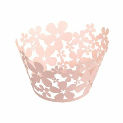 60pcs lasing Cut Pink Pearly Paper Flowers Cupcake Wrappers Wraps Cases Wed H7X5