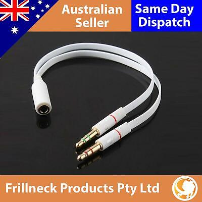 3.5mm Headset to PC Audio Splitter Adapter Cable 1 Female 2 Male Mic & Headphone