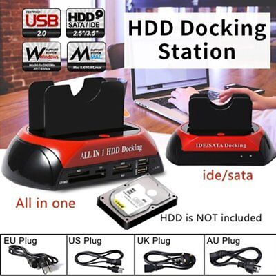 "2.5"" 3.5"" HDD Docking Station IDE SATA USB Hard Drive Card Reader Dock HUB QW"