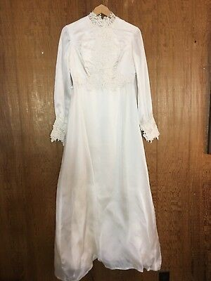 Vtg 50s Cream Long Sleeve Murray & Hamburger Wedding Gown Floral Lace S