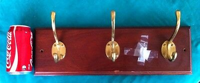 3 Coat hook rack brass and wood