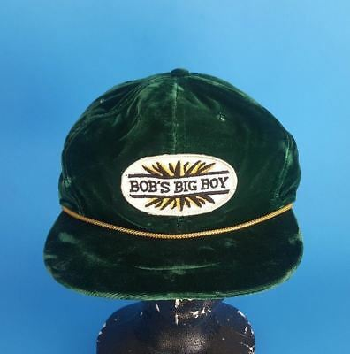 RARE Vintage Bob's Big Boy Patch Green Velvet w/ Gold Rope Adjustable Back Hat