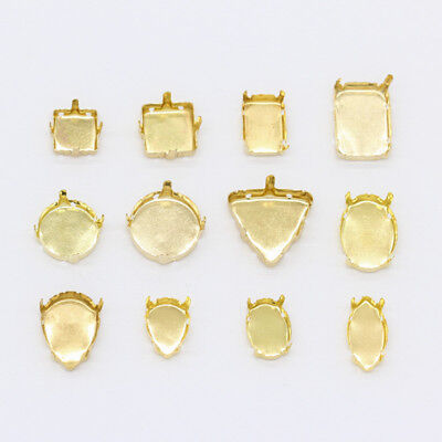 30p Gold Plate Empty Claw Setting For Sew On Crystal Rhinestone Cabochon Jewelry
