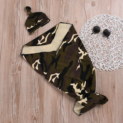 Newborn Baby Girl Boy Camo Swaddle Wrap Cotton Blanket Sleeping Bag+Hat Sets US