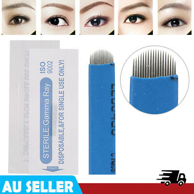 100Pcs Makeup Eyebrow Tattoo Manual Microblading Sterile 18U Needle Pin Blade EB