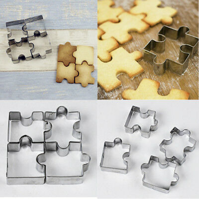 4Pcs/Set Cookies Mold Puzzle Shape Kitchen Tool Biscuit Bakeware Cookie Cutter