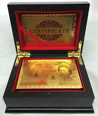 24K Luxury Gold Foil Poker Playing Cards Game Deck Wood Box Certificate Gift