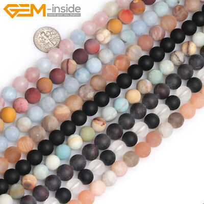 "Natural Frosted Matte Gemstone Round Loose Spacer Jewellery Making Beads 15"" UK"