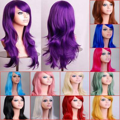 70cm Women Long Curly Wavy Hair Wig Fashion Costume Party Anime Cosplay Wig Cap