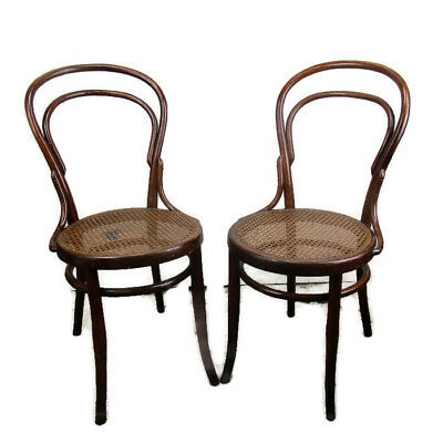 Pair Vintage Kohn Wien Chairs Bistro Ice Cream Parlor Rush Cane Seating Bentwood