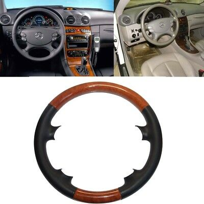 Leather Brown Wood Steering Wheel Cover Mercedes 03-09 W209 CLK R230 SL W219 CLS