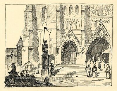 Patrick A. Faulkner, Westminster Abbey Steps -Mid-20th-century pen & ink drawing