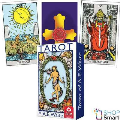 Ae Waite Tarot Mini Deck Cards Blue Edition Rosy Cross Fortune Telling Agm New