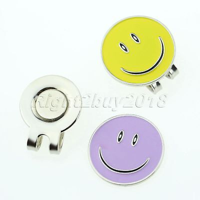 Alloy Smile Face Golf Ball Marker With Strong Magnetic Hat Clip Sport Practice