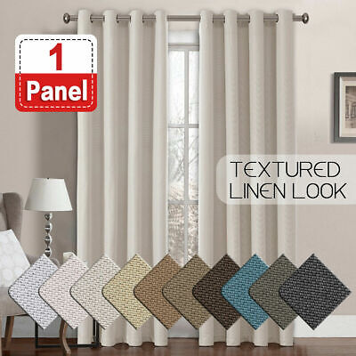 Textured Linen Like Thick Curtain Thermal Eyelet Bedroom Curtains 1 Panel Sold