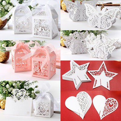 100PCS Wedding Laser Cut Favor Boxes Hollow Cut Gift Candy Box 5x5cm 1.96 inch