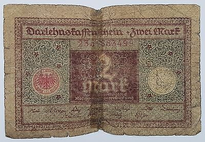 Germany 2 Mark WWI Reich Imperial Empire Inflation Banknote 1920