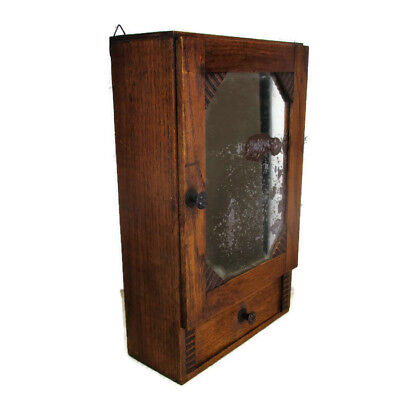 Hand Carved Ornate Wood  Medicine Kitchen Bathroom Wall Cabinet Apothecary