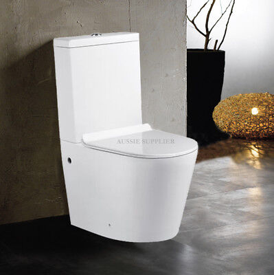 TOILET SUITE CERAMIC SOFT CLOSE SEAT RIMLESS BACK TO WALL S or P TRAP