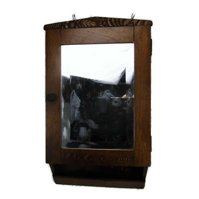 Hand Carved Ornate Wood Medicine Kitchen Cabinet Apothecary Beveled glass