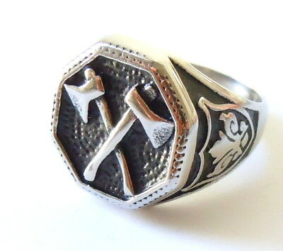 Double Viking Battle Axe Ring - Norse Barbarian War Weapon Biker Stainless Steel