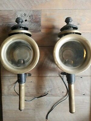 Pair of Antique American Stage Coach Lamps Lanterns Sconces