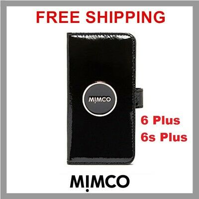 competitive price bce2b e9227 MIMCO ENAMOUR IPHONE 6 6s PLUS Black patent leather Magnetic Flip case  wallet DF