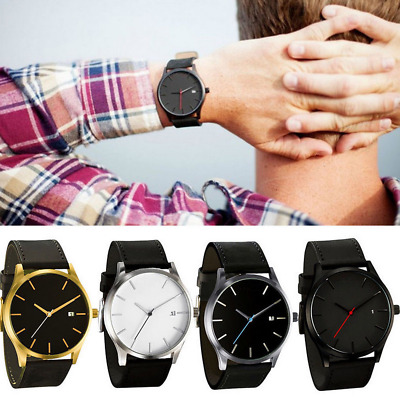 Men Wristwatch Stainless Steel Case Leather Band Quartz Analog Watches New Gift