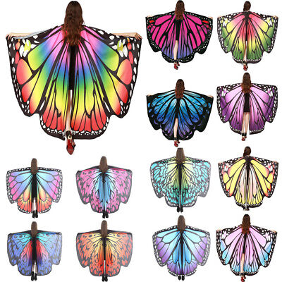 NEW Womens Soft Fabric Butterfly Wings Fairy Lady Nymph Pixie Costume Accessory