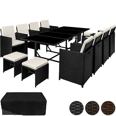 Poly Rattan Garden Furniture Set  12 Seater Chair Stool Table Dining Wicker