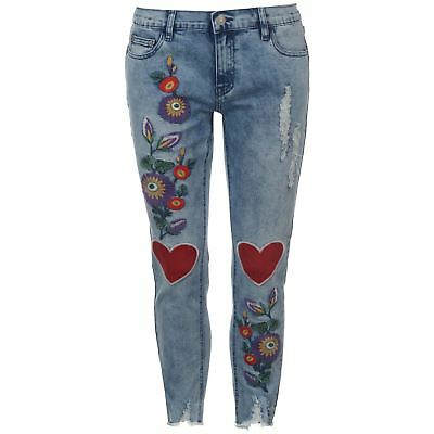 Womens Glamorous Applique Denim Jeans Skinny Fit New