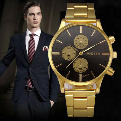 Luxury Men Crystal Stainless Steel Quartz Analog Wrist Watch Date Sport Watch UK