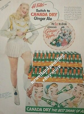 Mary Hartline-Canada Dry Ad EBONY - APRIL 1952. Autographed To Buyer