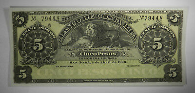 1899 Costa Rica 5 Pesos Lion S163R - Uncirculated - Priced Right!
