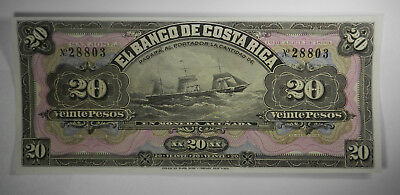 1899 COSTA RICA 20 PESOS S165r SHIP - UNCIRCULATED - PRICED RIGHT!