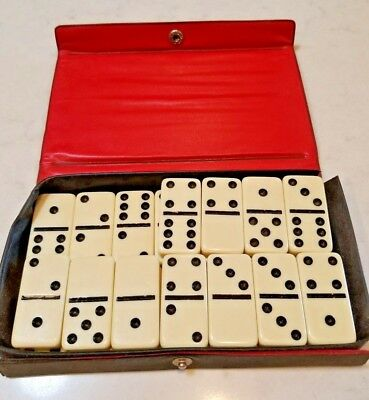 Vintage Double Nine Cardinal Pavilion 55 Dominoes 1987 Red Case Black&White