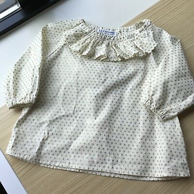 Euc Le Carrousel Baby Girl Ruffle Collar Blouse 18m Made In France