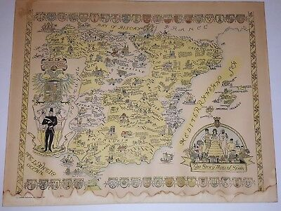Story Map of Spain Colortext Publications 1935 Pictorial Map