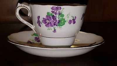 Colclough Bone China Tea Cup and Saucer Set Purple Violets Made in England #6616